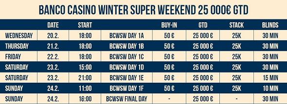 Harmonogram Winter Super Weekend €25,000 GTD